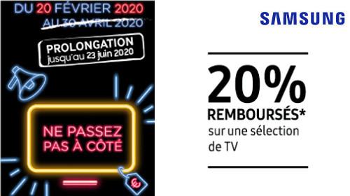 20% remboursés jusqu'au 23/06/2020