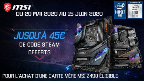 Jusqu'à 45€ de bon Steam offert par MSI jusqu'au 15/06/2020