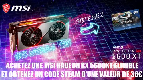 36€ en bon Steam offert par MSI jusqu'au 31/07/2020