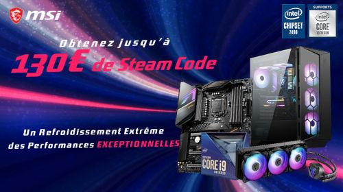 Jusqu'à 130€ de code steam offerts par MSI jusqu'au 31/08/2020