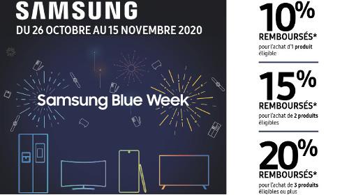 """Jusqu'à 20% remboursés avec la """"Samsung Blue Week"""" jusqu'au 15/11/2020"""