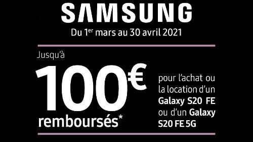 100 € remboursés jusqu'au 30/04/2021
