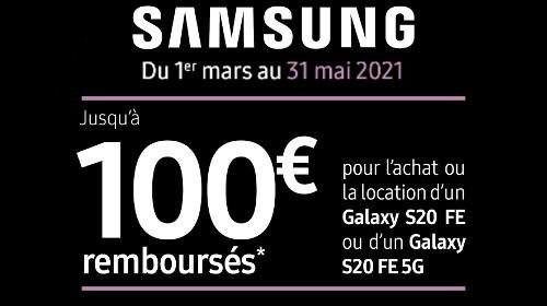 100 € remboursés jusqu'au 31/05/2021
