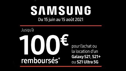 Jusqu'à 100 € remboursés jusqu'au 15/08/2021