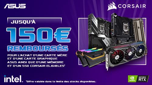 Jusqu'à 150€ remboursés pour l'achat d'un produit Asus et Corsair jusqu'au 30/09