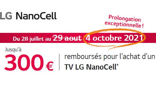 Jusqu'à 300 € remboursés jusqu'au 04/10/2021