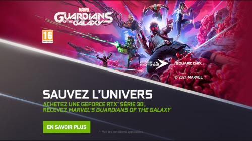 Marvel's Guardians of the Galaxy offert par NVIDIA jusqu'au 28/10