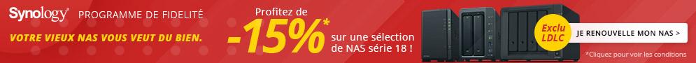 Jusqu'au 1er mai, profitez de 15% de réduction sur une sélection de NAS série 18 avec le programme fidélité Synology