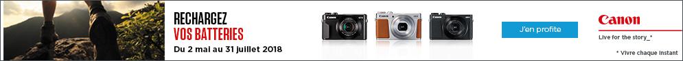 Jusqu'au 31 juillet, Canon offre une batterie supplémentaire compatible pour l'achat d'un appareil photo PowerShot éligible
