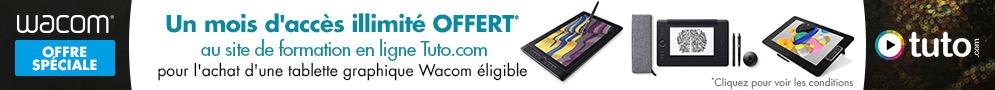 Jusqu'au 30/09/18, 1 mois d'accès illimité à la plateforme de formation en ligne sur Tuto.com offert pour l'achat d'une tablette graphique Wacom éligible