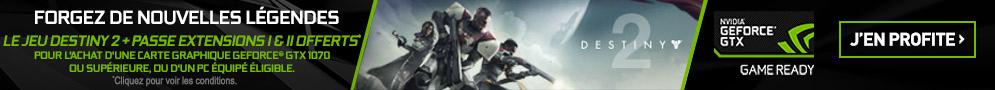 Jusqu'au 15 octobre, jeu PC Destiny 2 + Pass Extensions I et II offerts pour l'achat d'un produit éligible avec NVIDIA