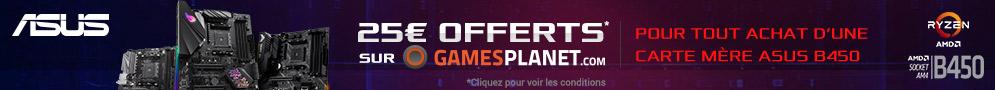 Jusqu'au 30/09/18, 25€ de crédit Games Planet offert par Asus pour l'achat d'une carte mère éligible
