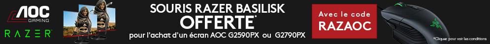 Jusqu'au 15/10/18, 1 Souris gaming Razer Basilisk offerte avec le code RAZAOC pour l'achat d'un écran AOC éligible !