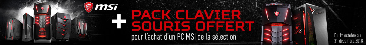 Pack clavier souris MSI offert
