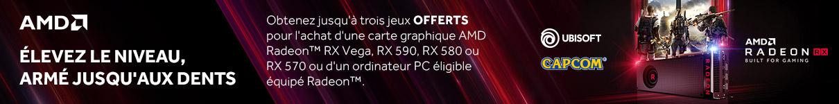 2 jeux offerts pour l'achat d'une carte graphique AMD Radeon RX 580, RX 570