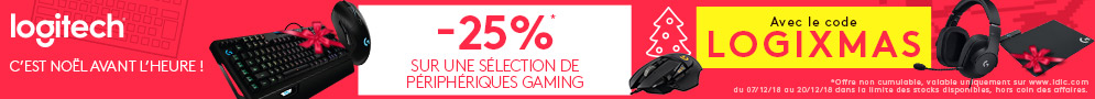 Jusqu'au 20/12/18, 25% de réduction immédiate sur une sélection de périphériques gaming Logitech avec le code LOGIXMAS