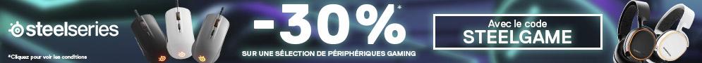 Jusqu'au 30/12/18, 30% de remise sur une sélection de périphériques gaming SteelSeries avec le code STEELGAME