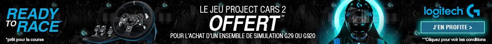Jusqu'au 28/12/18, le jeu Project Cars 2 est offert pour l'achat d'un ensemble de simulation Logitech G29 et G920