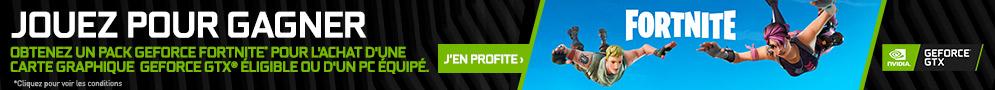 2000 V-Bucks et un pack Contre-attaque pour avatar masculin de Fortnite offerts pour l'achat d'une carte graphique GeForce GTX 1070 Ti, 1070 ou 1060, Desktop ou Laptop éligibles.
