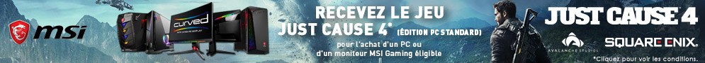 Jusqu'au 31/12/2018, Just Cause 4 est offert, pour l'achat d'un produit MSI éligible