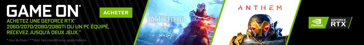 Battlefield V ou Anthem offert pour l'achat d'une NVIDIA RTX 2070 ou 2060 jusqu'au 25 Février 2019