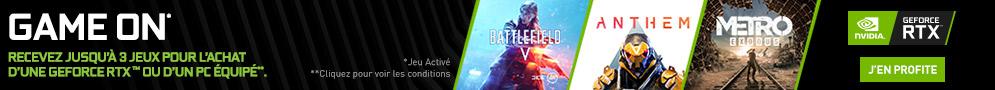 Jeu PC Anthem, Battlefield V ou Metro Exodus offert avec NVIDIA pour l'achat d'une RTX 2060 ou 2070*