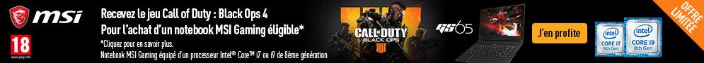 Jusqu'au 09/05/2019, pour l'achat d'un PC MSI éligible, recevez le jeu Call of Duty Black Ops 4.