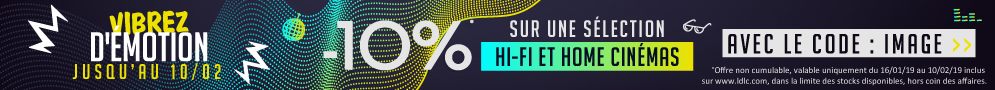 Jusqu'au 10/02/2019, 10% de réduction immédiate sur une sélection Hifi et Home Cinema avec le code IMAGE