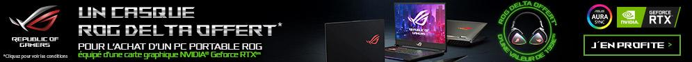 Jusqu'au 31/03/19, casque DELTA ROG offert pour l'achat d'un PC portable ROG équipé d'une carte graphique NVIDIA™ GeForce RTX™