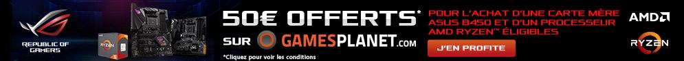 Jusqu'au 04/04/19, 50€ de jeu offerts sur GamesPlanet avec Asus pour l'achat d'un bundle carte mère + processeur éligible