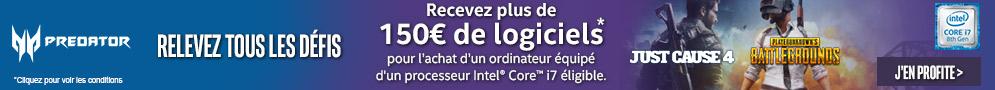 +150€ de logiciels offerts avec ACER et INTEL