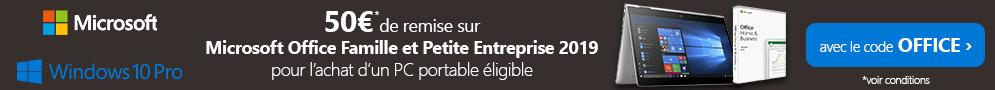 Jusqu'au 12/12, 50€ de réduction sur Microsoft 2019 Famille et Petite Entreprise avec le code OFFICE