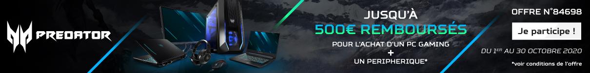 Jusqu'à 500€ remboursés par Acer pour l'achat simultané d'un PC et d'un accessoire jusqu'au 31/10/2020