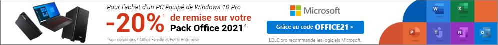 Jusqu'au 26/10, -20% sur Microsoft Office Famille et Petite Entreprise pour l'achat d'un PC équipé de Windows 10 Pro
