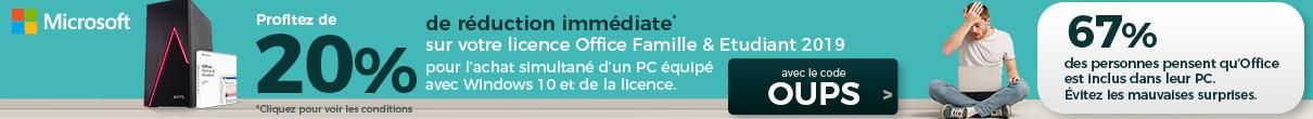 -20% sur la licence Office Famille & Etudiant avec le code OUPS