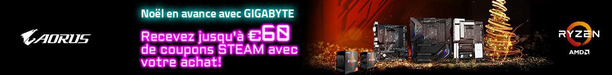 Jusqu'à 60€ de Steam codes offert avec Gigabyte jusqu'au 20/12/2020
