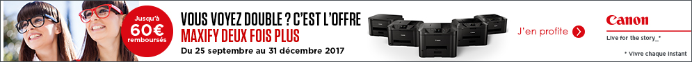 Jusqu'au 31 décembre, Canon rembourse jusqu'à 60€ pour l'achat d'un produit éligible à l'offre Double Cashback Maxify