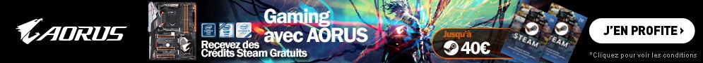 Jusqu'au 31 décembre, profitez de crédits Steam offerts pour l'achat d'une carte mère gaming Aorus Z370 éligible