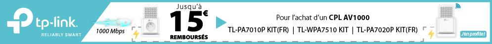 Jusqu'au 14 février, TP-LINK rembourse jusqu'à 15€ pour l'achat d'un Kit CPL éligible