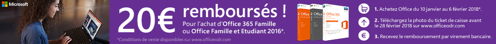 Jusqu'au 6 février, Microsoft rembourse 20€ pour l'achat d'Office Famille et Etudiant 2016 ou Office 365 Famille