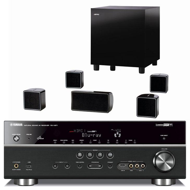 Ensemble home cinéma Yamaha RX-V671 Noir + Jamo A 102 HCS 6 Noir Yamaha RX-V671 Noir + Jamo A 102 HCS 6 Noir - Ampli-tuner Home Cinema 7.1 DLNA 3D Ready avec HDMI 1.4 et Décodeurs HD + Pack d'enceintes 5.1