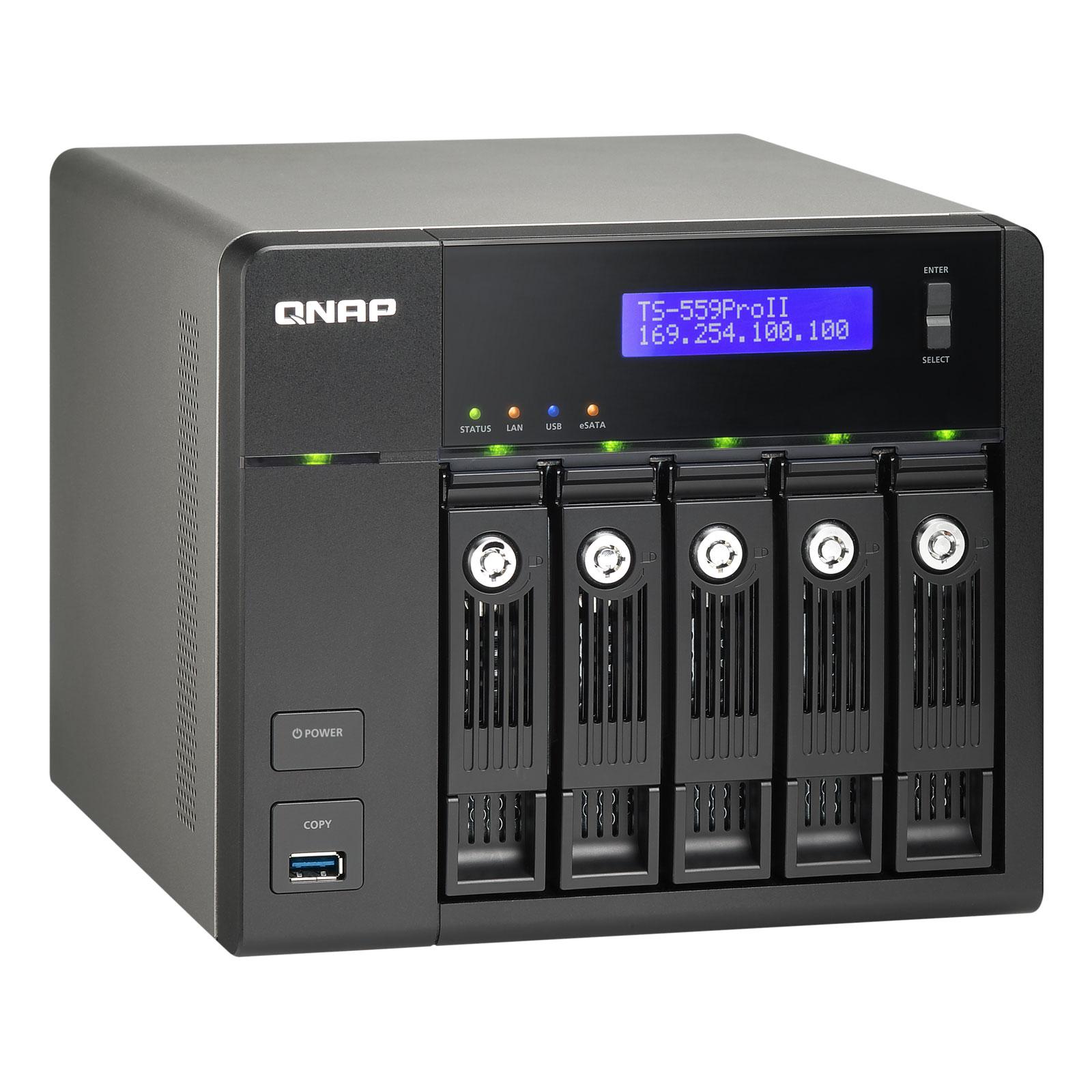Serveur NAS QNAP TS-559 Pro II Serveur NAS professionnel 5 baies (sans disque dur)