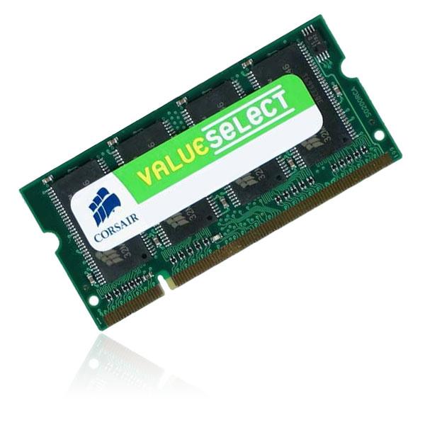 Mémoire PC portable Corsair Value Select SO-DIMM 512 Mo DDR 333 MHz RAM SO-DIMM 512 Mo DDR-SDRAM PC2700 (Garantie 10 ans par Corsair)