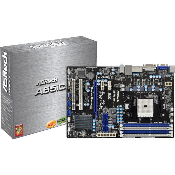 Carte mère ASRock A55iCafe Carte mère ATX Socket FM1 AMD A55 (Hudson D2) - SATA 3Gb/s - USB 2.0 - 1x PCI Express 2.0 16x