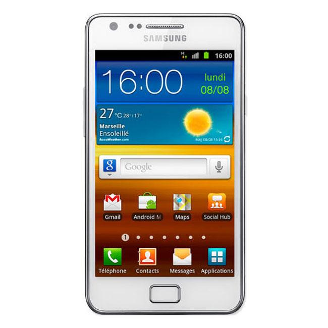 "Mobile & smartphone Samsung Galaxy S2 GT-i9100 Blanc Smartphone 3 G+ avec écran tactile 4.27"" Super AMOLED Plus sous Android 2.3"