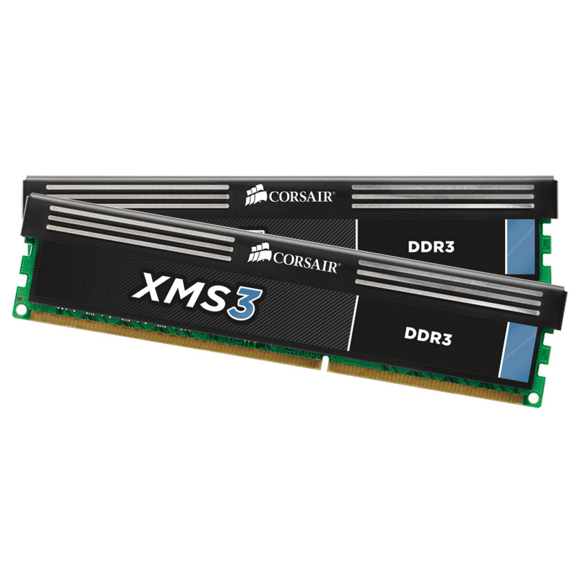 Mémoire PC Corsair XMS3 8 Go (2 x 4 Go) DDR3 1600 MHz CL11 Kit Dual Channel RAM DDR3 PC12800 - CMX8GX3M2A1600C11 (garantie à vie par Corsair)