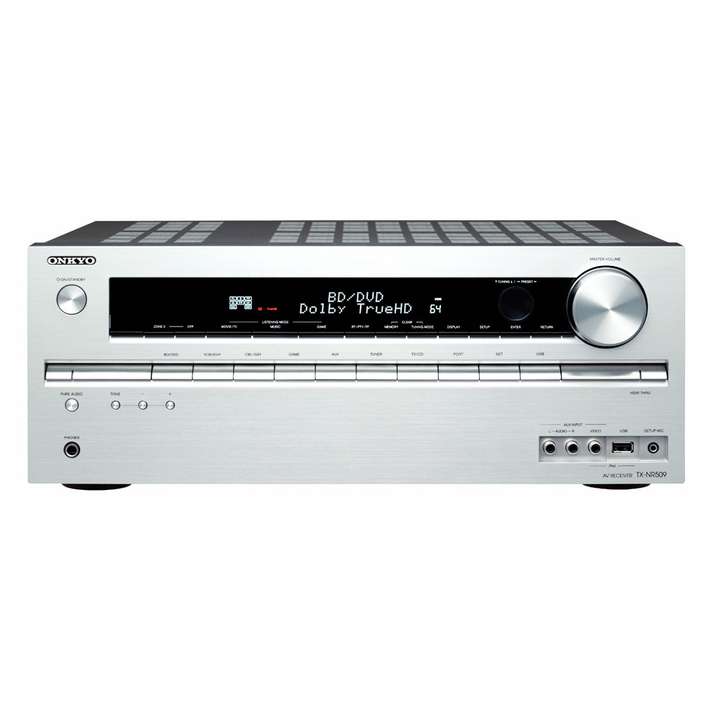 Ampli home cinéma Onkyo TX-NR509 Argent Ampli-tuner Home Cinéma 5.1 DLNA avec HDMI 1.4 et Décodeurs HD