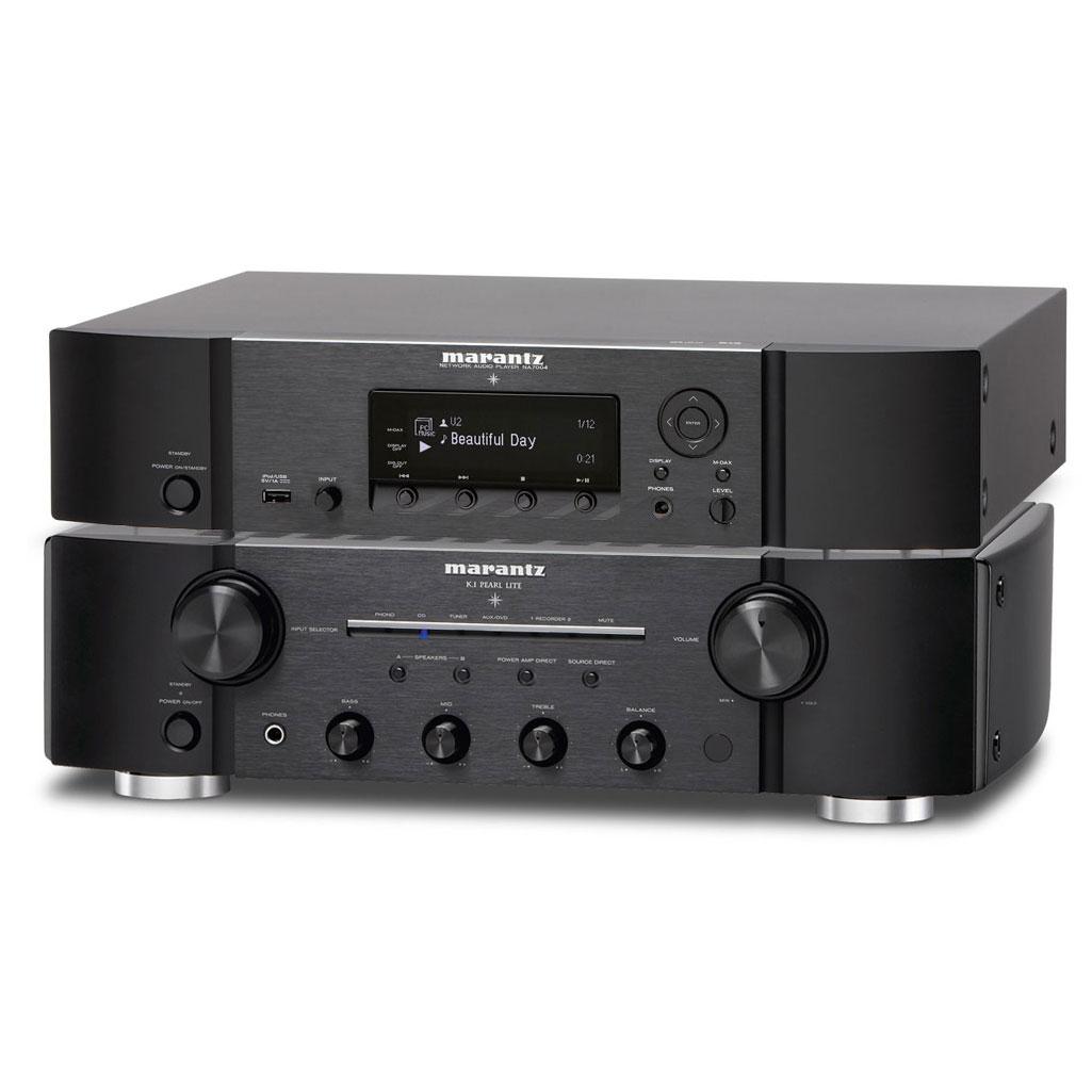 Chaîne Hifi Marantz PM-KI Pearl Lite + NA7004 Noir Amplificateur stéréo  intégré 2 x