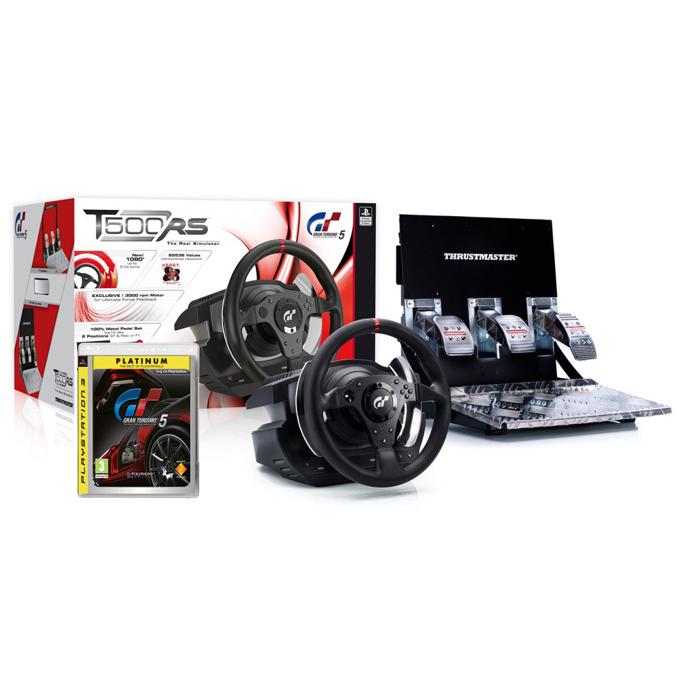 thrustmaster t500 rs gran turismo 5 platinum volant pc thrustmaster sur. Black Bedroom Furniture Sets. Home Design Ideas