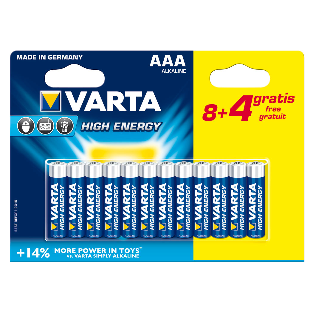 Varta high energy aaa 8 4 gratuites pile chargeur - Pile rechargeable 1 5v ...